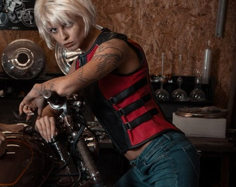 Leather motorcycle vest for ladies