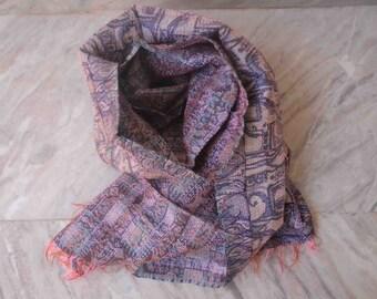 kantha shawl scarf scarves vintage tribal print saree silk scarf bohemian shawl
