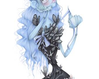 Tim Burton fashion illustration halloween pop surrealism corpse bride art print