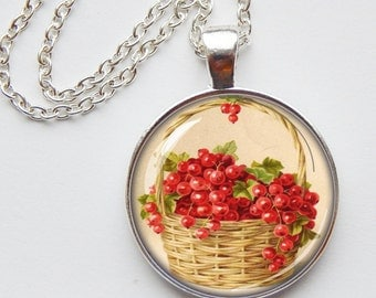 Garden pendant - holiday grapes/berries - gift - floral pendant - holiday necklace - customize
