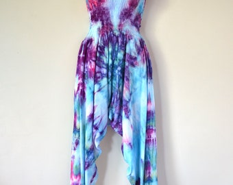 "Ice Dyed Tie Dyed Harem Pants/Jumpsuit ""Mermaid"" Design"