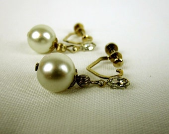 Vintage Faux Pearl Rhinestone Dangle Earrings, Screw Back Dangle Earrings