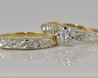 Art Deco Antique Wedding Set, C. 1940's - (3 Diamond Engagement and 4 Diamond Wedding Ring) 14K Yellow and White Gold LB235