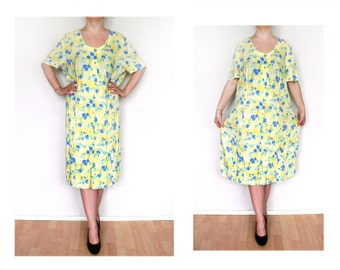 L Women's Vintage yellow Dress, sundress sun dress, blue flowers