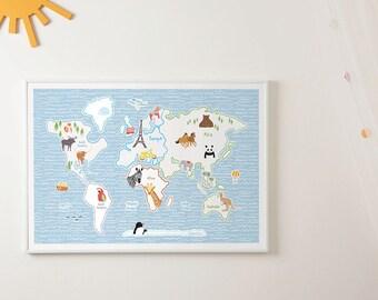 Vintage world map world map poster size a1 a2 a3 a4 world world map for kids nursery prints wm603 size a1 a2 a3 a4 gumiabroncs Images