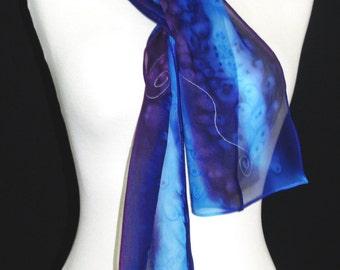 Blue Silk Scarf. Turquoise Hand Painted Silk Shawl. Purple Handmade Silk Scarf BEACH MAGIC. 8x54. Birthday, Bridesmaid Gift. Gift-Wrapped