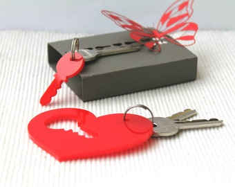 Red Heart Keychain, Puzzle Keychain, Puzzle Accessories, Gift Womens Keychain, Laser cut Acrylic Keychain, Puzzle piece keychain, Key chain