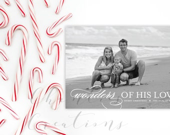 Wonders Of His Love Christmas Card -Holiday Card Digital or Print