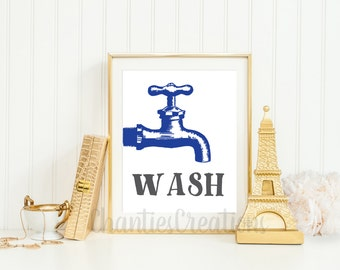 Wash Bathroom Faucet Printable. Wall Art Bathroom Printable