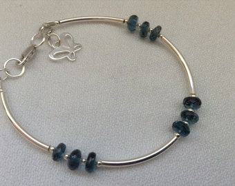 Genuine London Blue Topaz bracelet. 925 sterling silver bracelet. Gift for her.