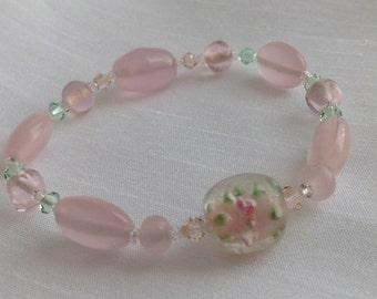 Pretty Pink ~ Lampworked Glass and Swarovski Crystal Bead Bracelet