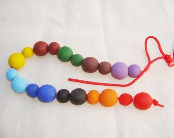 Lacing Toy. Wooden Lacing Toy. Waldorf &Montessori Inspired Toy.