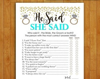 Bridal Shower Game Download - He Said She Said - TEAL & GOLD - Instant Printable Digital Turquoise Mint - diy bachelorette party Printables
