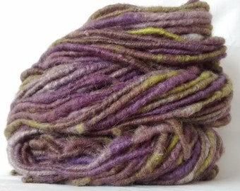 Handspun corespun mohair and wool yarn in purples greys and greens