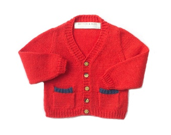 SALE! Red baby cardigan, knitted baby cardigan. British wool | size 0-3M ready to ship