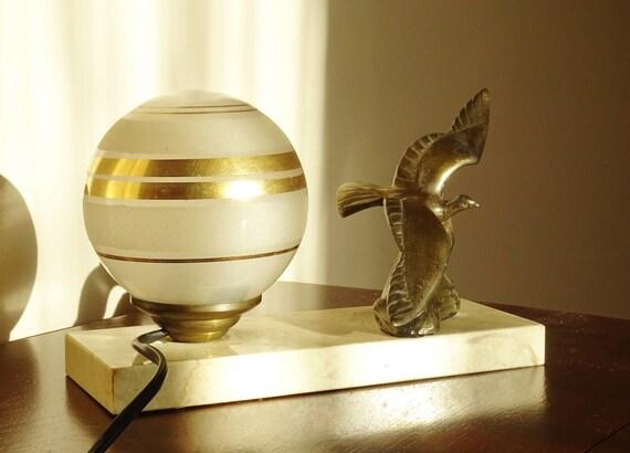 antique lampe poser fran ais art d co boule en verre et. Black Bedroom Furniture Sets. Home Design Ideas
