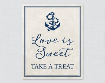 Love is Sweet Sign for Nautical Bridal Shower - Printable Navy Anchor Nautical Shower Favor Table Sign - Love is Sweet Take a Treat 0011