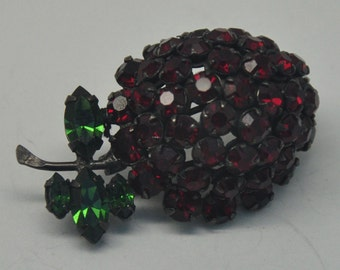 Vintage Red Rhinestone Cherry Brooch
