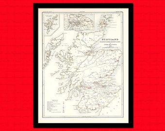 Get 1 Free Print - Scotland Map 1881 Sanitary Conditions - Ancient Map Wall Art Antique Map Poster Old Map Print Map Wall Decor Scotland Map