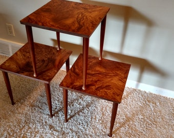 Mid Century Danish Modern Set of Three Stacking / Nesting Tables