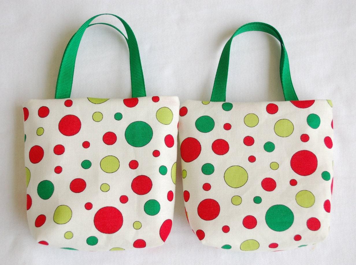 Set of christmas fabric gift bags secret santa