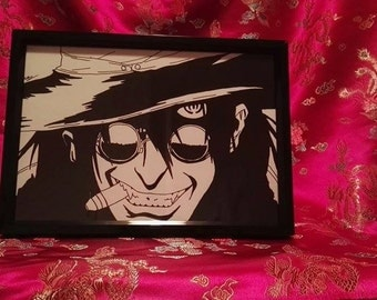 Alucard from Hellsing A4 Black and White Drawing (Print)