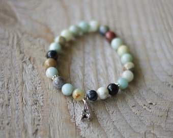 Bracelet for women semiprecious stones, gems - Amazonite - charm silver Eiffel Tower - gift