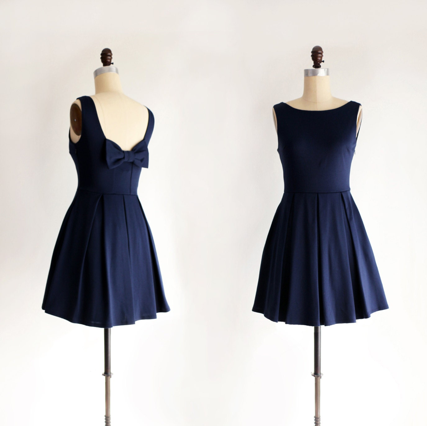 January navy blue bridesmaid dress with bow vintage zoom ombrellifo Image collections