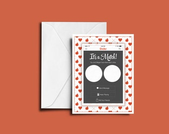 Personalized 'It's a Match!' Tinder Style Valentines Day, Anniversary, Wedding Greeting Card