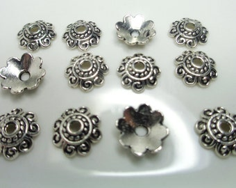 100 Beads Cap 8mm, antique silver, spacers, Tibetan alloy, 1.2mm hole