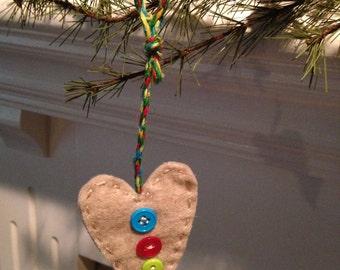 Rustic Felt Heart Charm - handmade