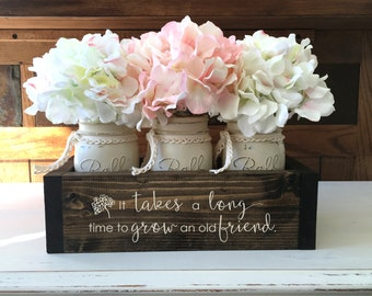 Best Friend Gift | Best Friend Birthday Gift | Personalized Friend Gift | Mothers Day | Housewarming | Engraved Planter Box w/ Mason Jars