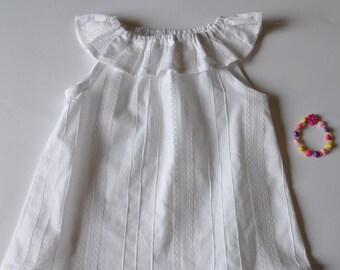 White Ruffle Top for Girls, Newborn - size4