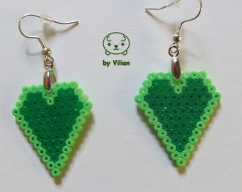 Mini Hama bead shades of green heart pixel geek earrings for Valentine's