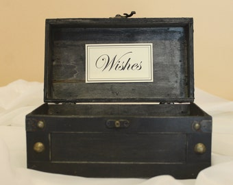 Wedding wishes trunk / Wishes case / Wedding decoration / Wedding wishes / Bride and Groom wish case / wooden trunk/ baskets and boxes