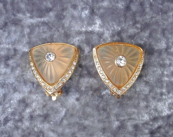 Vintage Gold-Tone Clip On Earrings With Faux Diamonds