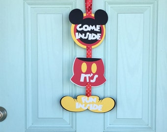 "SALE!!!  Mickey Mouse Clubhouse Sign. ""Come Inside, It's Fun Inside"" Mickey Mouse Clubhouse Birthday Party"