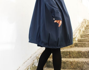 Blue Loose Shirt / Long Sleeved Top / Asymmetrical Oversize Shirt / Loose Cotton Shirt  / B0037