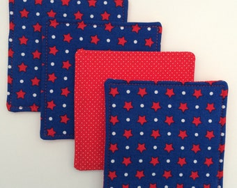 SALE, Blue Coasters, 4th of July, Drink Coasters, Beverage Coasters, Red White and Blue, Hostess Gift, Table Top Linen, Coaster Set