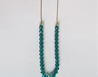 Turquoise Swarovski Crystal Necklace on Goldfilled Chain