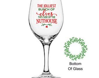 Christmas Wine Glasses, Christmas Wine Glass, Elves Wine Glass, Holiday Wine Glass, Secret Santa, Dear Santa Christmas Gift, Stocking