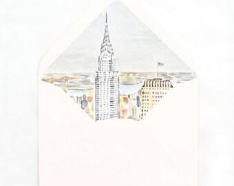 New York City Envelope Liner, NYC Watercolor Illustration, Chrysler Building
