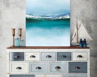 Abstract Beach painting, Seascape Ocean, Waves painting, Acrylic, California beach, Modern wall art, MADE TO ORDER.