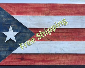 Rustic Puerto Rico Flag Constructed from Reclaimed/Repurposed Wood (Free Shipping)