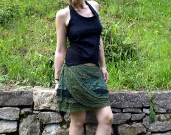 DISCOUNT 30% Skirt crochet, Tribal gypsy clothing, Wraparound lace skirt, Mini skirt layers, Fairy dance clothes, One size clothes.