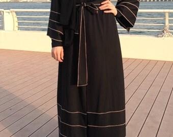 Jersey Abaya - Black / Hemming Stitch Abaya / Abaya with Belt / Black Abaya / Plus Size Abaya / Relaxed Fit Abaya / Designer Abaya / Kimono