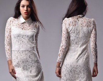 Little white dress Lace formal short dress white dress Wedding bridesmaid Lace dress bodycon White lace Flirty dress.