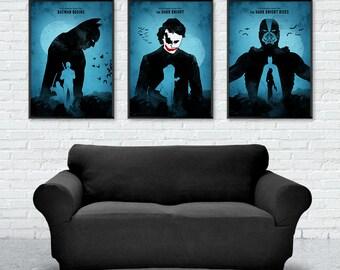 Batman Trilogy Movie Poster, Batman Begins, The Dark Knight, The Dark Knight Rises, Minimalist Poster