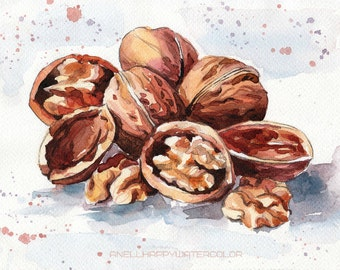 Walnut watercolor Print Painting illustration Walnut Wall decor Nut print Food print Kitchen print Realistic Kitchen art
