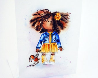 African American Card, Little African American Girl Card, Watercolor card, Baby card, Nursery Greeting card, Your inscription, Custom cards